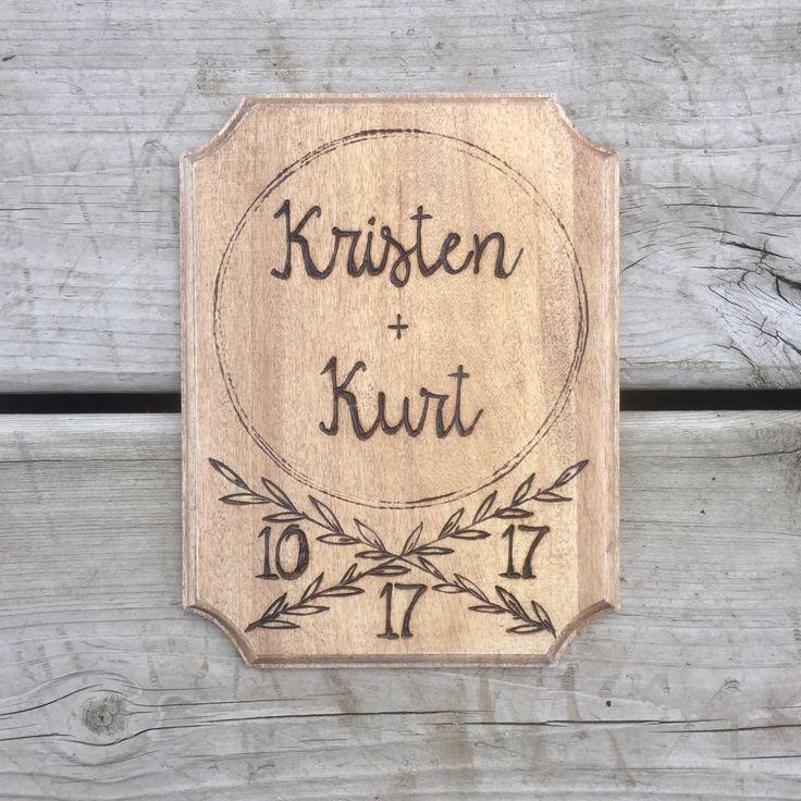 Custom name plaque with wedding date.  #Personalizedsign #initials #weddingdate #woodburning #weddinggift #wood #sign #decoration #rustic #custom