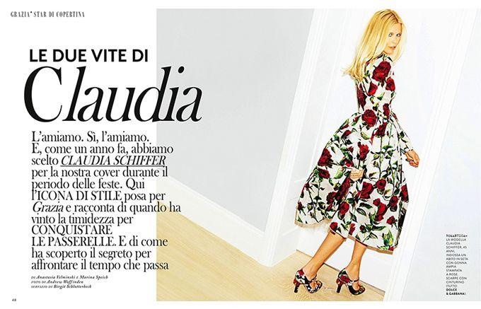 Клаудиа Шиффер в Grazia Italy (Интернет-журнал ETODAY)