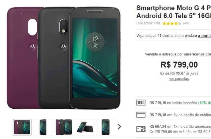 Moto G 4 Play Dual Chip Android 6.0 Tela 5'' 16GB Câmera 8MP << R$ 60724 >>