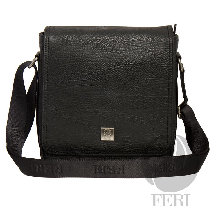 """Channing Murse – Black C$944  http://bit.ly/1KvK0ZY - Black leather - Customized FERI Lining - Adjustable nylon shoulder strap with FERI embossed - Flap closure - Front flat pocket with snap closure and front zip pocket - Interior zip pocket - Tablet padding and smart phone pocket - Dimension: 10.62"""" x 10.23"""" x 3.5"""""""