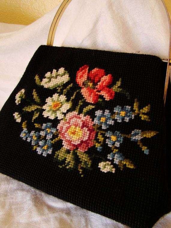 Vintage Black Floral Needlepoint Handbag Purse by Arizonabloom, $10.00