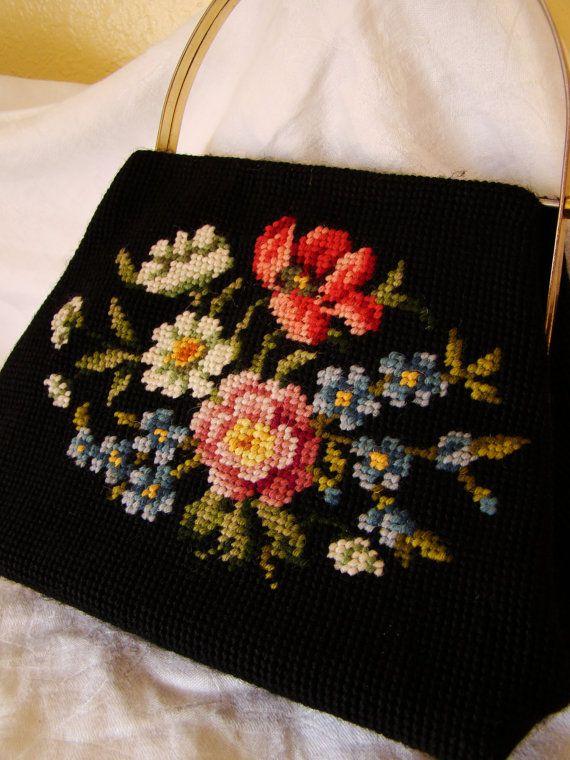 Vintage Black Floral Needlepoint Handbag Purse