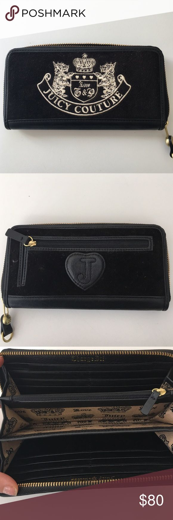 Juicy couture wallet Like new. Only been used once. Black velvet with zipper. Juicy Couture Bags Wallets