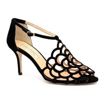 "Oscar de la Renta ""Gladita"" Black Suede Gardenia Lace Sandal"
