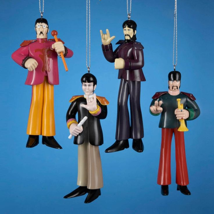 Kurt Adler Set of 4 Beatles Yellow Submarine Sgt. Peppers Band Christmas Ornaments 4.75