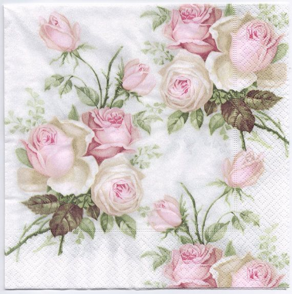 Romantic print of a bouquet of roses in pastel, napkins are printed in Germany on 3-ply paper. These are perfect for paper arts and crafts of many