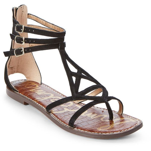 Sam Edelman Black Goldie Flat Gladiator Sandals ($60) found on Polyvore featuring women's fashion, shoes, sandals, black, strappy flat sandals, flat gladiator sandals, strappy flats sandals, strap sandals and open toe flat sandals