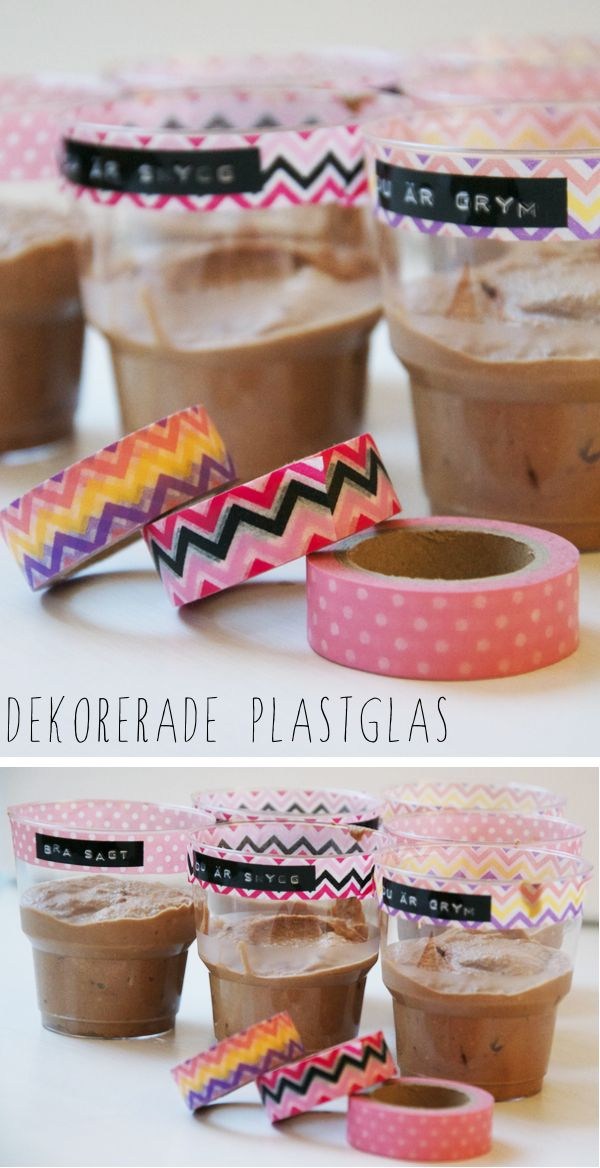 DIY: Decorate your plastic glasses with washi tape and dymo