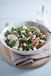 You will need: – 100g curly kale – 25g pecan or walnut halves – 50g Gruyere cheese, diced – 2 apples, sliced For the dressing: 75g 0% fat Greek yoghurt 1tsp honey 1tsp creamed horseradish Salt and freshly ground black pepper 1/2tsp lemon juice Method: 1. Mix all the dressin ingredients together in a large bowl, taste and adjust seasoning, and then add lemon juice to taste. Place all the salad ingredients in the bowl and toss together to serve. 149 calories per serving. Recipe serves 4 pe...