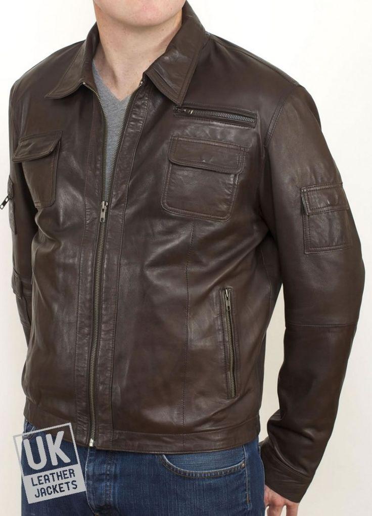 Men's Brown Leather Jacket - Morgan - Main