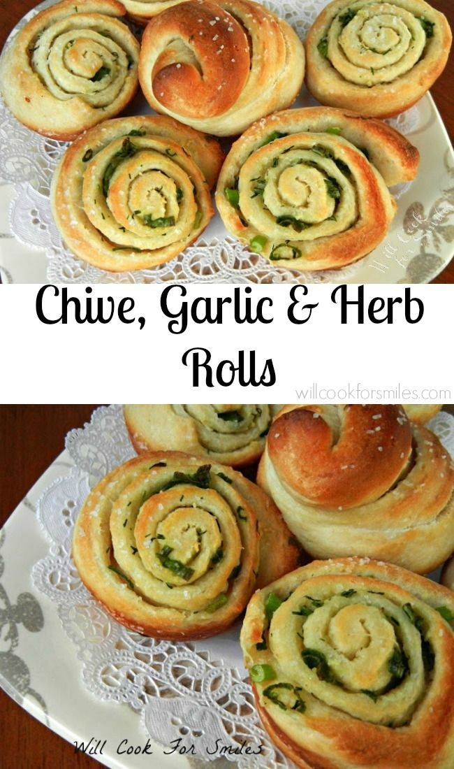 Chive Garlic and Herb Rolls, wonderful easy side bread for any occasion. from willcookforsmiles.com #bread #sidedish #rolls