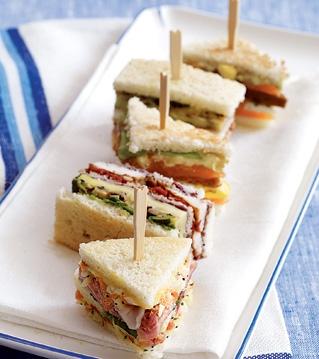 Smoked salmon club sandwiches by Daniel Boulud.