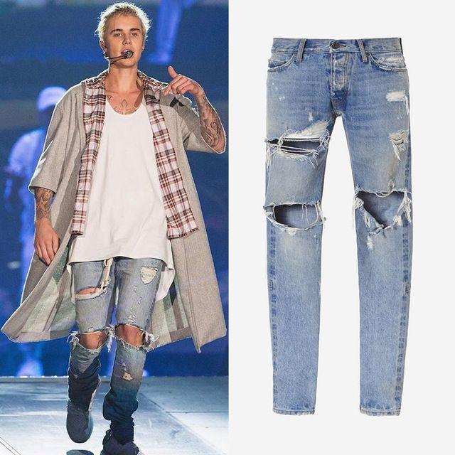 אור כחול streetwear בגדי kanye west היפ hop rockstar ג 'סטין ביבר רוכסן בקרסול נהרסה סקיני ג' ינס ripped ג 'ינס לגברים