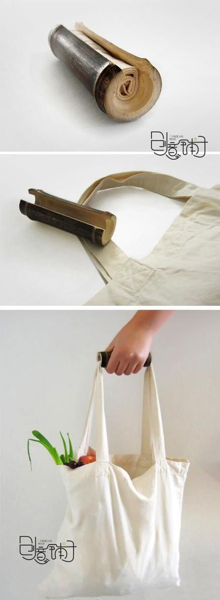 recycle bag in bamboo pipe