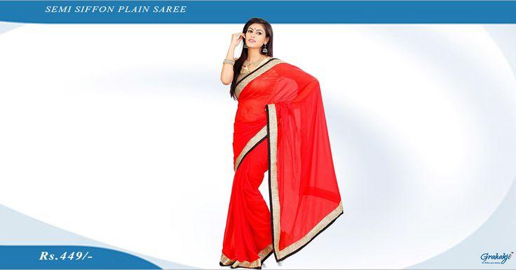 Buy semi siffon plain saree online at Grahakji.com Shop Now #semisiffon #siffonsaree #plainsaree #saree #shopping