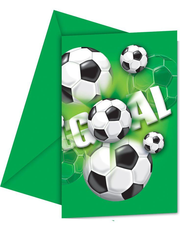 6 biglietti d'invito di carta a tema calcio su VegaooParty, negozio di articoli per feste. Scopri il maggior catalogo di addobbi e decorazioni per feste del web,  sempre al miglior prezzo!