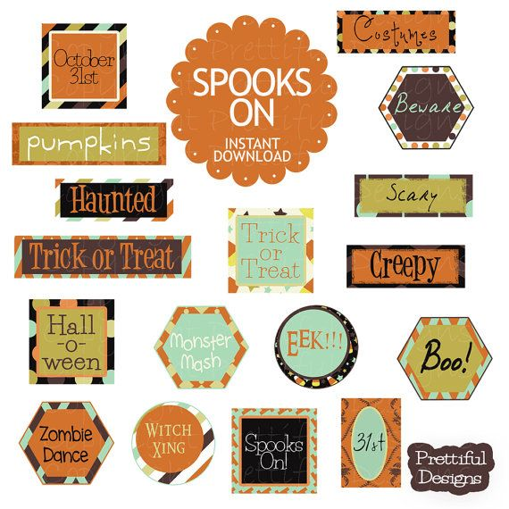 Halloween Word Art Tags for Digital Scrapbook Party Decorations Cards - Spooks On (759)