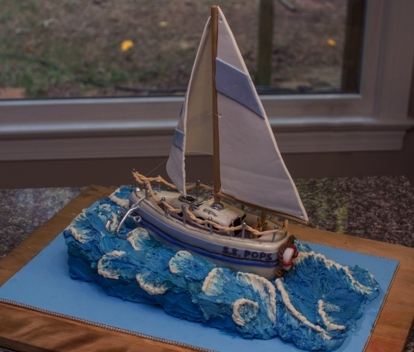 Sailboat Cake with textured waves. grooms cake. can you make something like this?