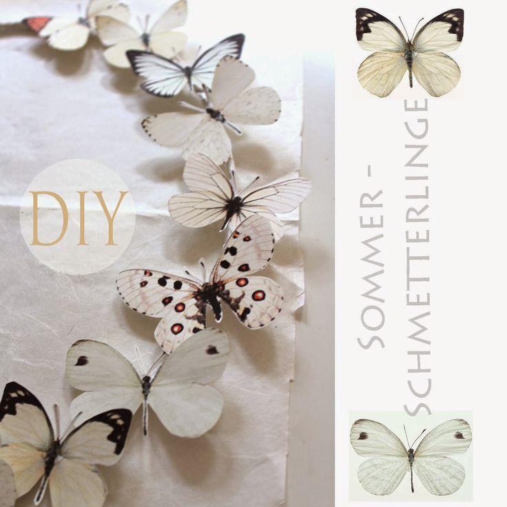 DIY, Schmetterlinge, Schmetterlingskranz, Papierschmetterlinge, weiße Deko, Dekoblog, Wohnblog, basteln