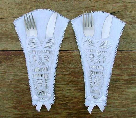 Porta posate pizzo cutlery argenteria elegante porta
