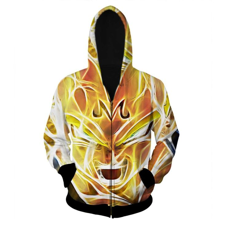 Newest Dragon Ball Z Hoodies Super Saiyan Zipper Outerwear Goku/Vegeta/Majin Buu 3D Hoodie Women Men Loose Hooded Sweatshirt