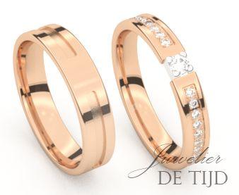 Rose gouden trouwringen met diamant