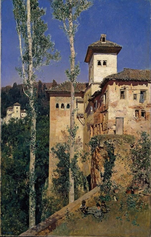 """""""La Torre de las Damas en la Alhambra de Granada"""", Martín Rico y Ortega, 1871, óleo sobre lienzo"""