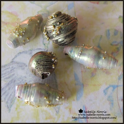 Paper Beads with Metallic Paints - Nice embellishment for charms