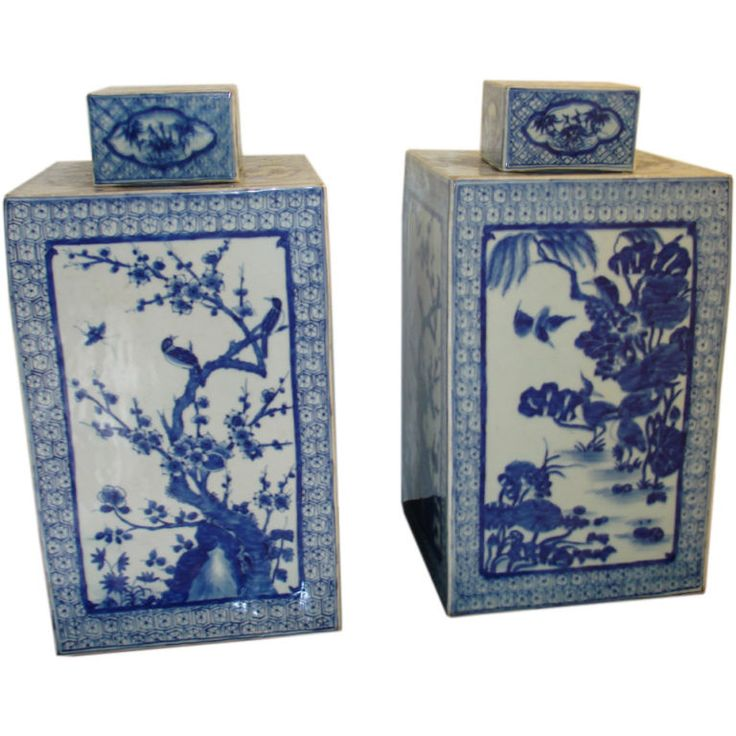 A Pair Of Blue & White Square Porcelain Jars With Covers  China  19th century: Porcelain Jars, White Squares, Gingers Jars, Blue Whil, Teas Jars, Squares Porcelain, Blue White, Porcelain Teas, Blue And White