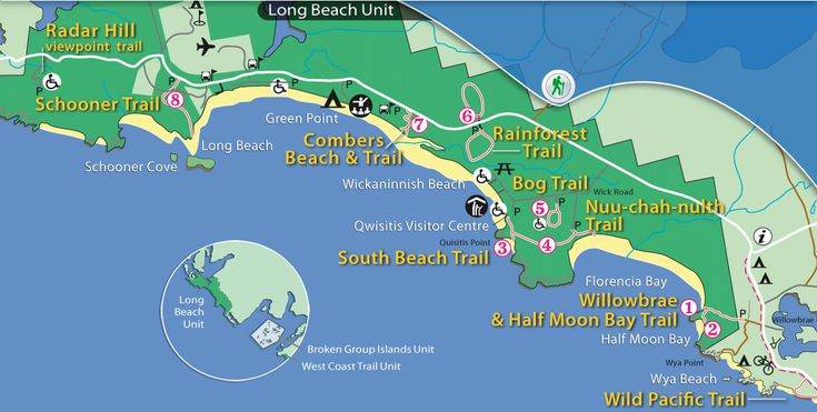 Map of Pacific Rim National Park List of Hiking Trials