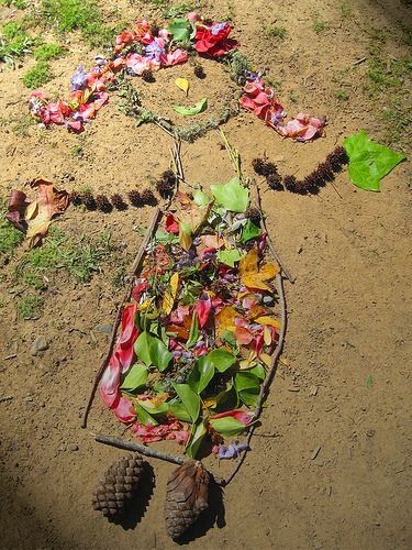 """Land Art by 2nd Graders, """"Mother Nature""""; YES Fundraiser Project 