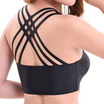 Sexy Silk Seamless Back Criss-cross Breathable Yoga Wrapped Chest Bra