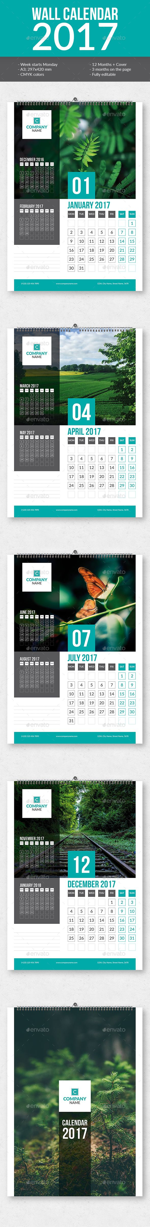 Wall Calendar 2017 Template InDesign INDD