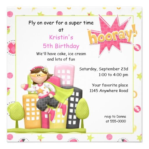 Superhero Girl's Birthday Invite