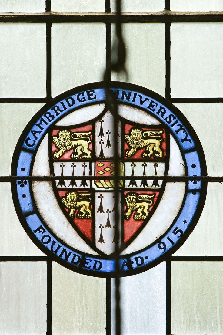 """University of Cambridge, Founded A.D. 915"" stained glass window. Cambridge, Cambridgeshire, England, UK"