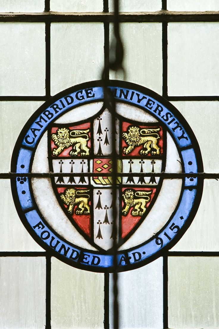 """University of Cambridge, Founded A.D. 915"" stained glass window. Cambridge, Cambridgeshire, England, UK"