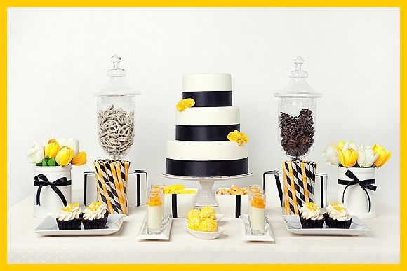 Black, White, and Yellow themed party...beautiful dessert table.