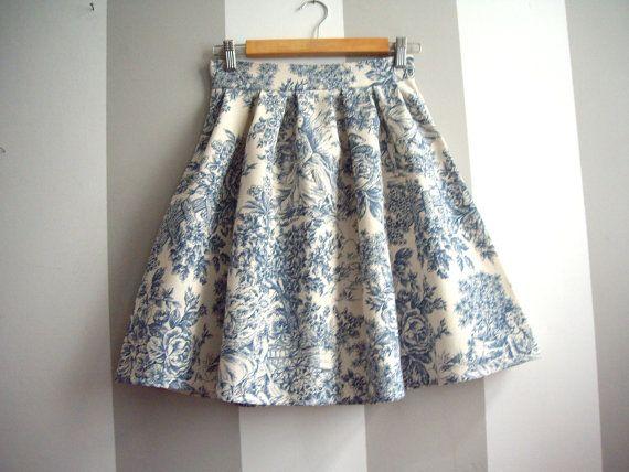 Toile de Jouy rok / / blauw en crème Toile hoge taille rok / / Pleated rok / / op bestelling gemaakt