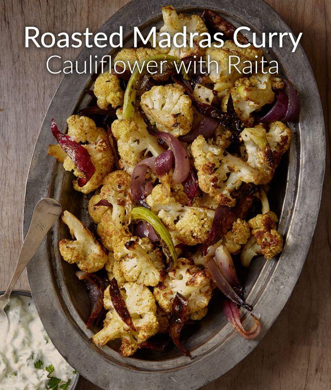 Tis the season to try new seasonings, like this Roasted Madras Curry Cauliflower with Raita recipe.