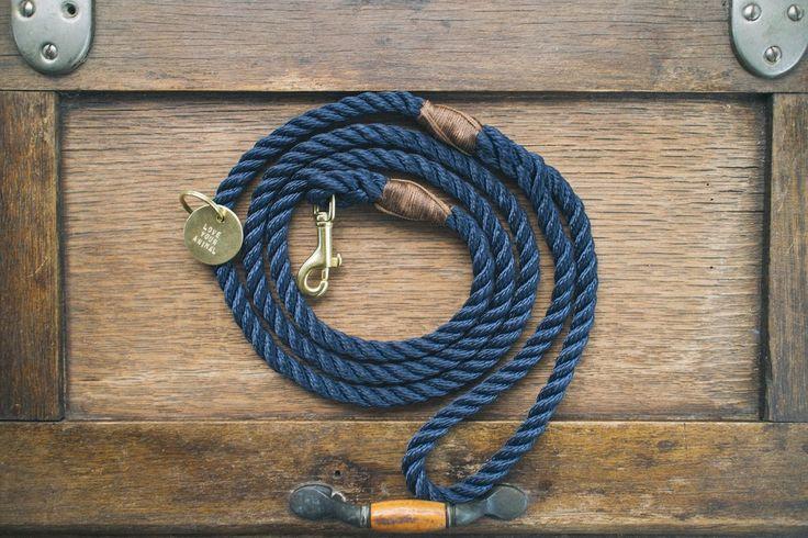 Royal Navy + Brass Rope Dog Leash
