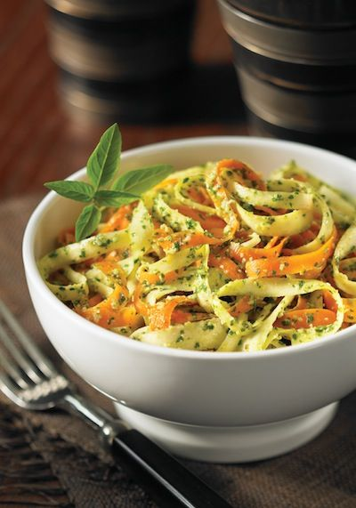 """""""Pesto"""" (Cilantro, Lemon, Hemp Seeds, Coconut oils, garlic, salt) Coated Carrot and Parsnip """"Fettuccini"""" ...we made this tonight and used zucchini instead of the parsnip - it was AMAZING, SATISFYING, and SO FLAVORFUL!!"""