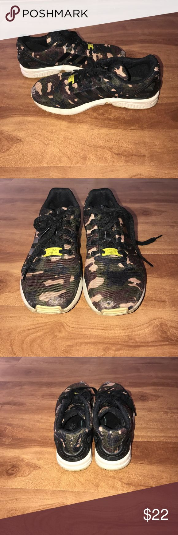 Adidas ZX Flux camo 4/10 condition. Main problem are wearing/holes in toe area. Size 6 boys YOUTH. 7.5-8 in women's Adidas Shoes Sneakers