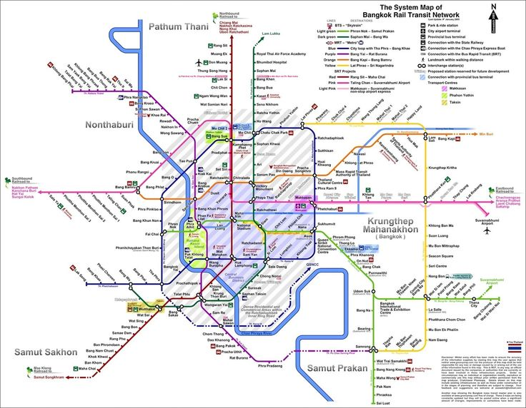 Bangkok : subway map, network, BTS, MRT, Airport Rail Link