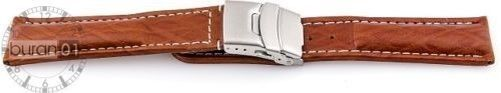 """Watch Band Deployment Clasp - Calf Leather - Brown With White Stitching 0.78"""""""