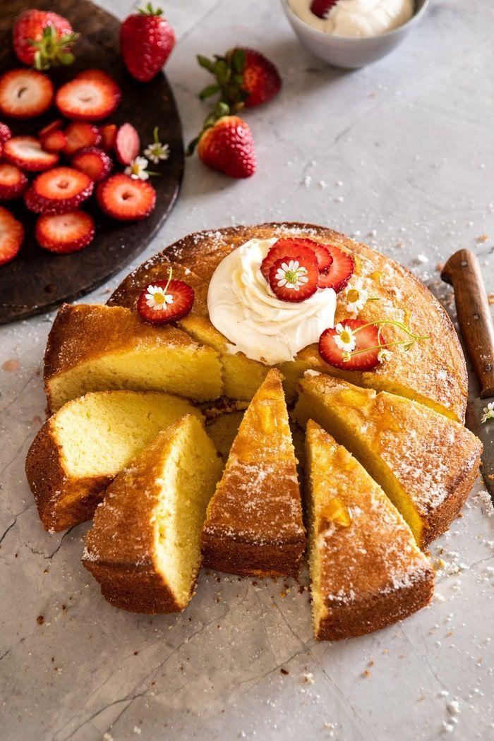 Strawberry Chamomile Olive Oil Cake With Honeyed Ricotta Recipe Food Oil Cake Half Baked Harvest