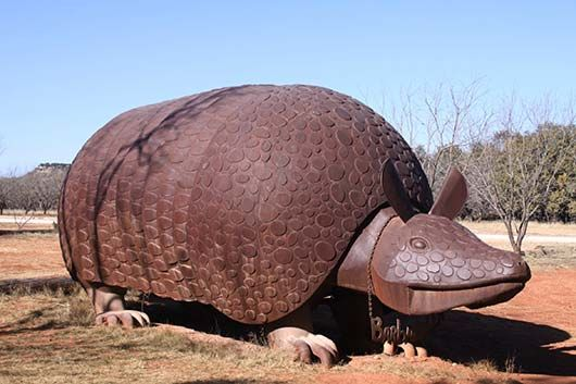 Yep, it's Barbaradillo! Worlds largest armadillo at Perini Ranch Steakhouse in Buffalo Gap, TX. (Just south of Abilene).