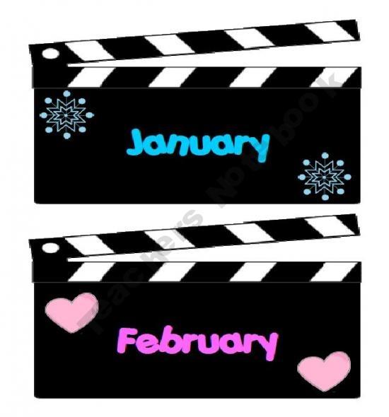 Printable months for Hollywood theme