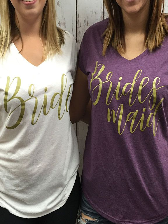 Bride and Bridesmaid Titled - Bulk Bridal Party VNecks