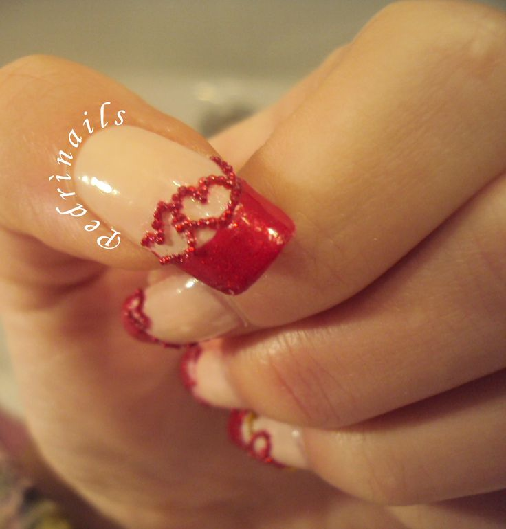 Bordered red diagonal french manicure with microbeads - thumb nail - love nails design