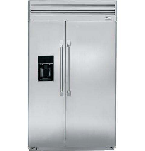 """ZISP480DXSS - 48"""" Built-In Side-by-Side Refrigerator with Dispenser - The GE Monogram Collection"""